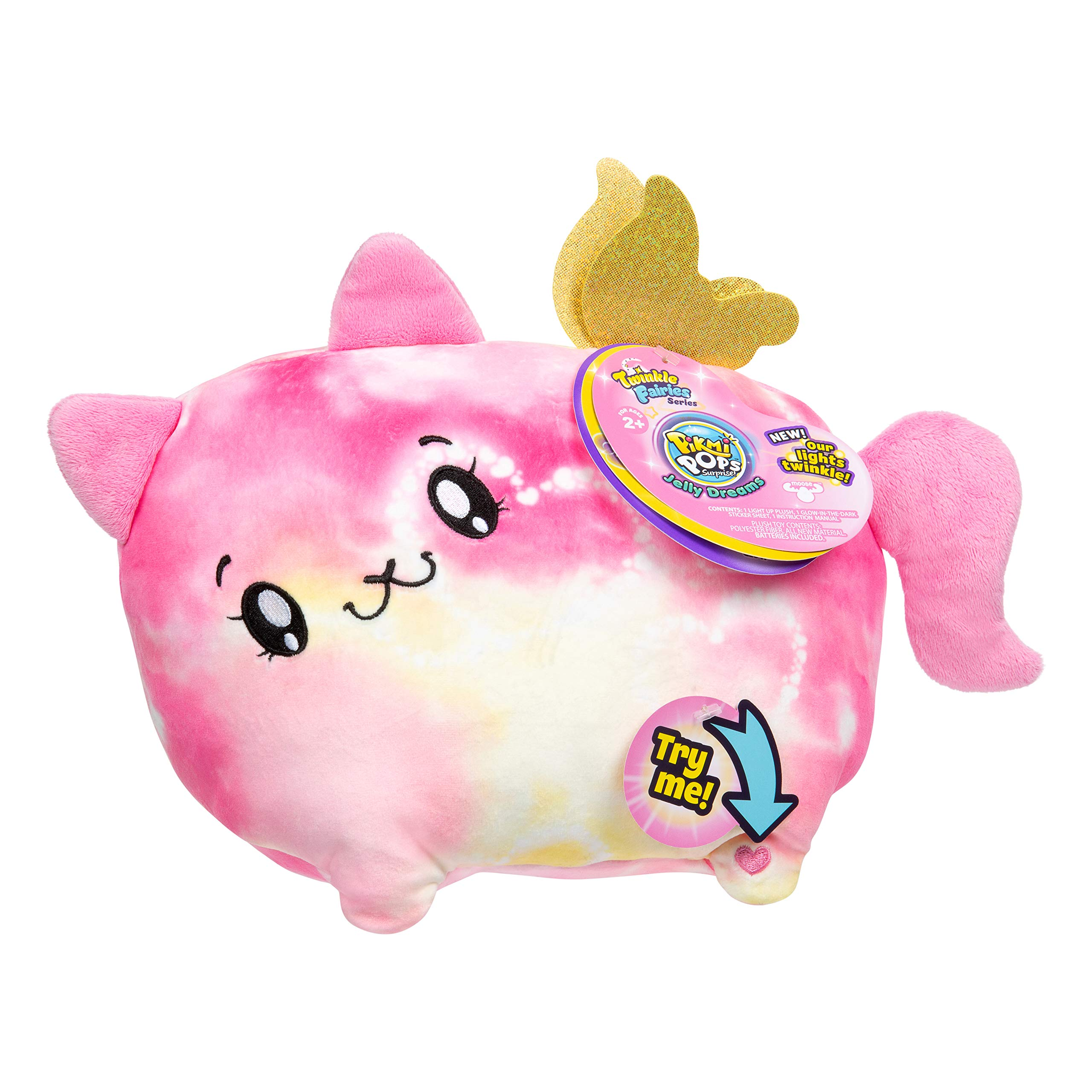 """Pikmi Pops Jelly Dreams - Twinkle Fairies Series - Beams The Cat - Collectible 11"""" LED Light Up Glowing Plush Toy"""