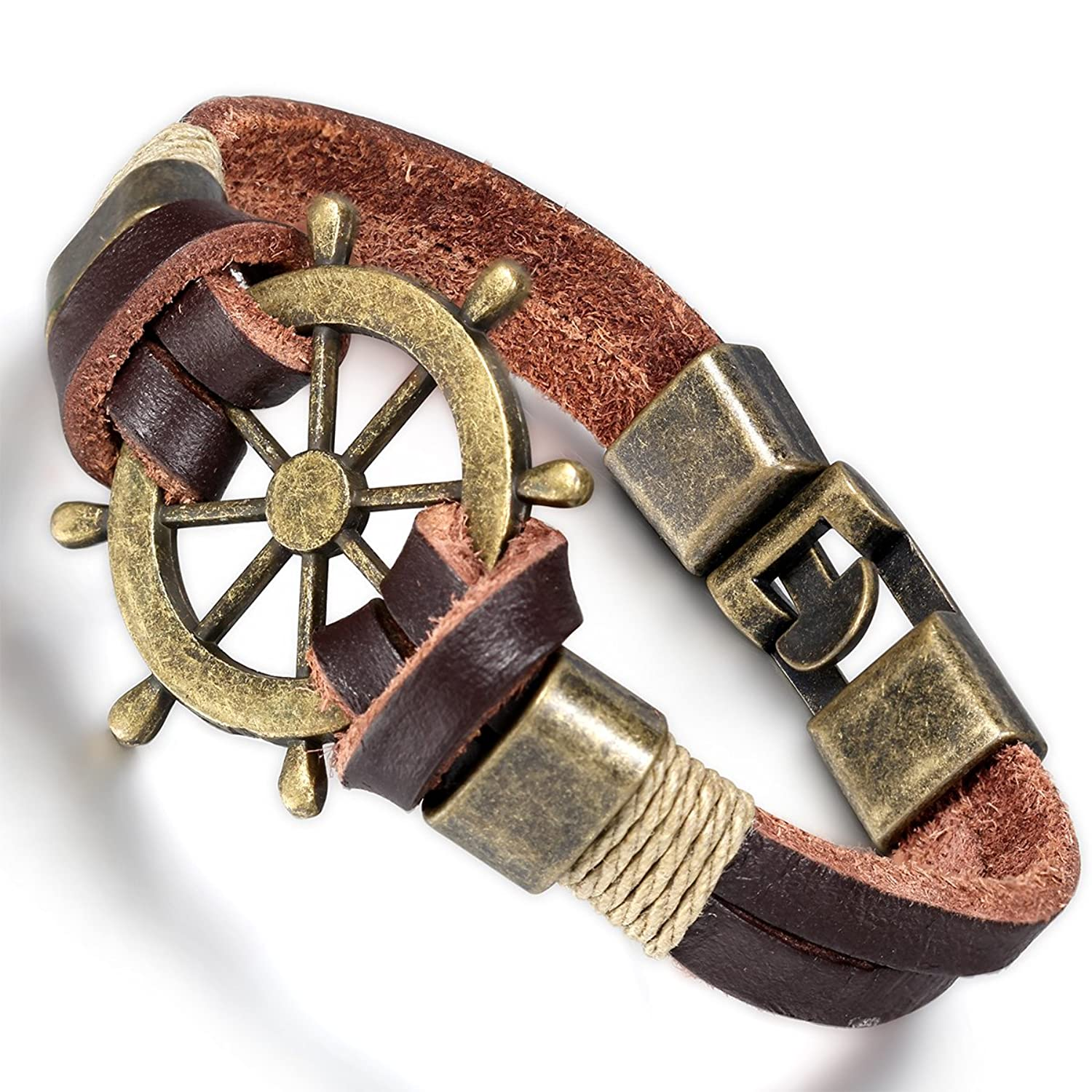 Men's Bronze Ship Wheel Leather Wrap Pirate Bracelet