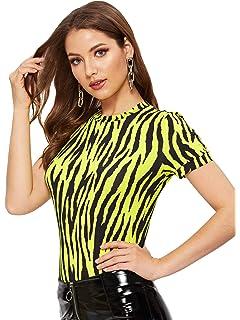 09d6dbb9636 WDIRARA Women's Casual Zebra Print Top Short Sleeve Stretch Fashion Tee