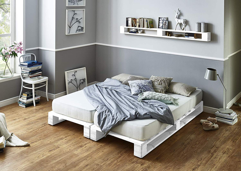 Estructura de Cama de palets color Blanco - Palet Cama ...