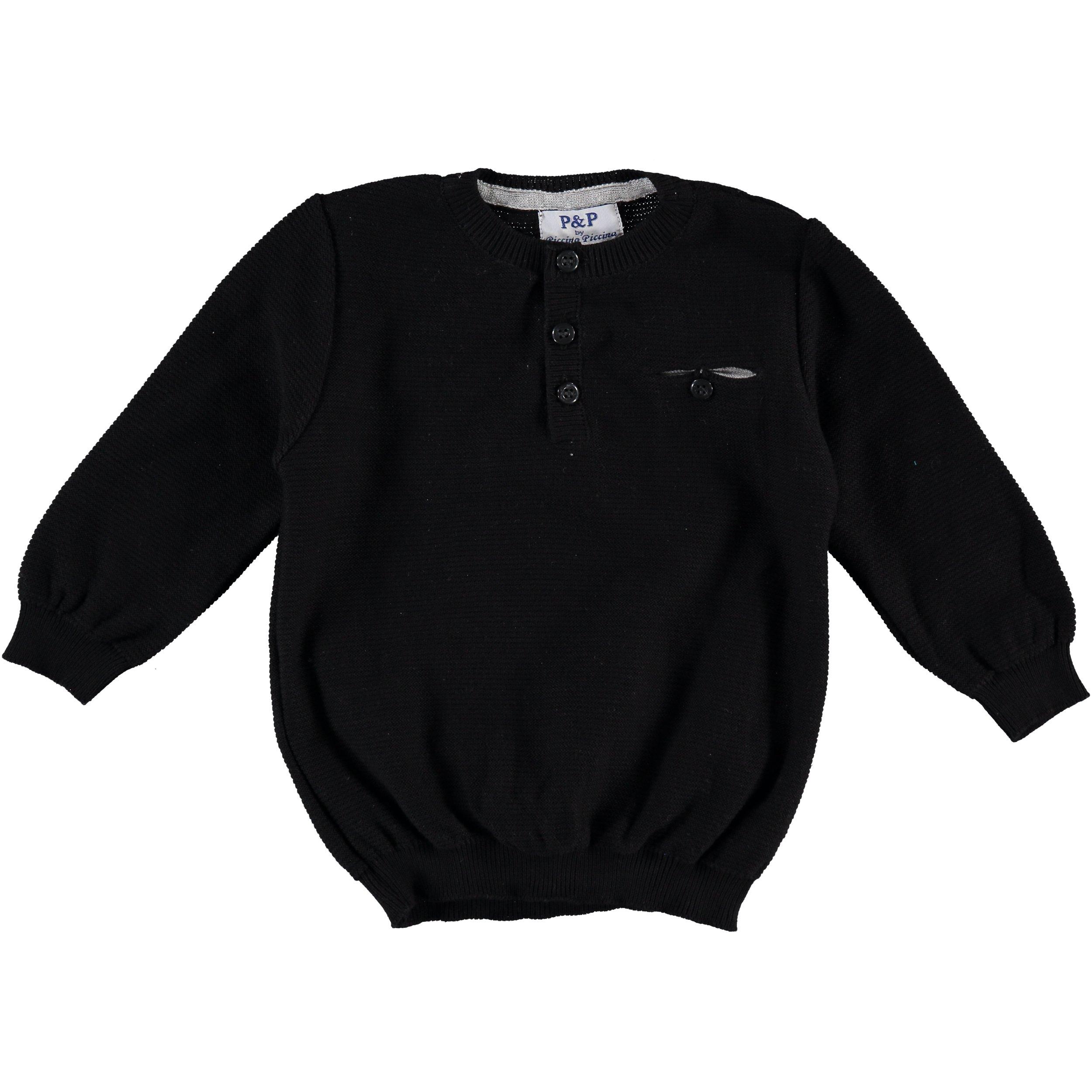 Piccino Piccina Boys Soft Black Dress Pullover Sweater