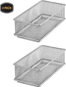 YBM HOME Silver Mesh Drawer Cabinet and or Shelf Organizer Bins, School Supply Holder Office Desktop Organizer Basket 1594s-2 (2, 3x6x2 Inch)