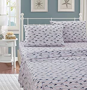 Smart Linen Bed Sheet Set Shark Grey Navy New (Queen)