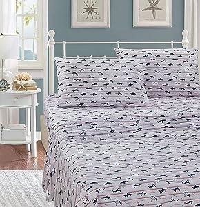 Smart Linen Bed Sheet Set Shark Grey Navy New (Queen)