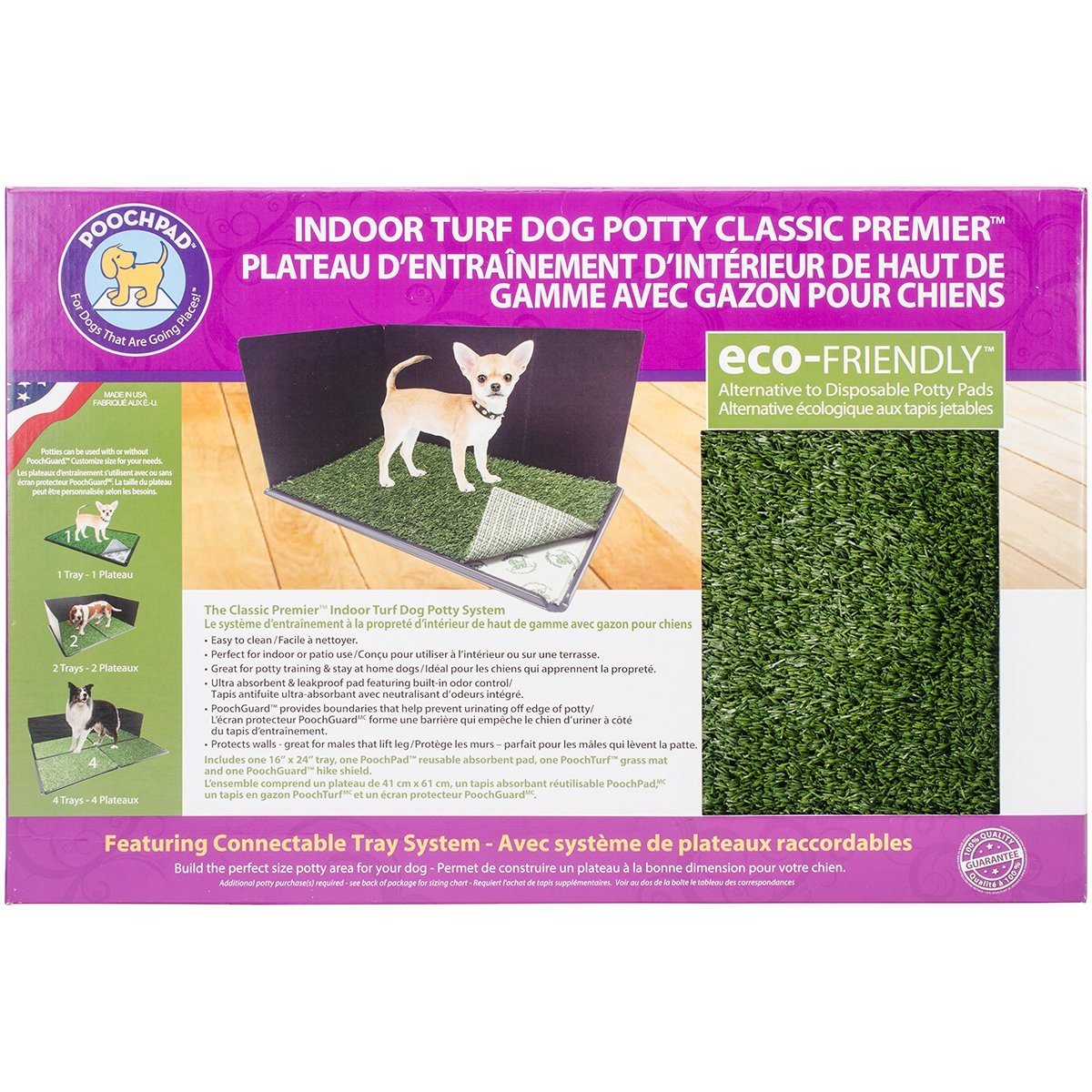 Indoor Turf Dog Potty Classic Premier Connectable 16 X24 -With Pad Hike Shield
