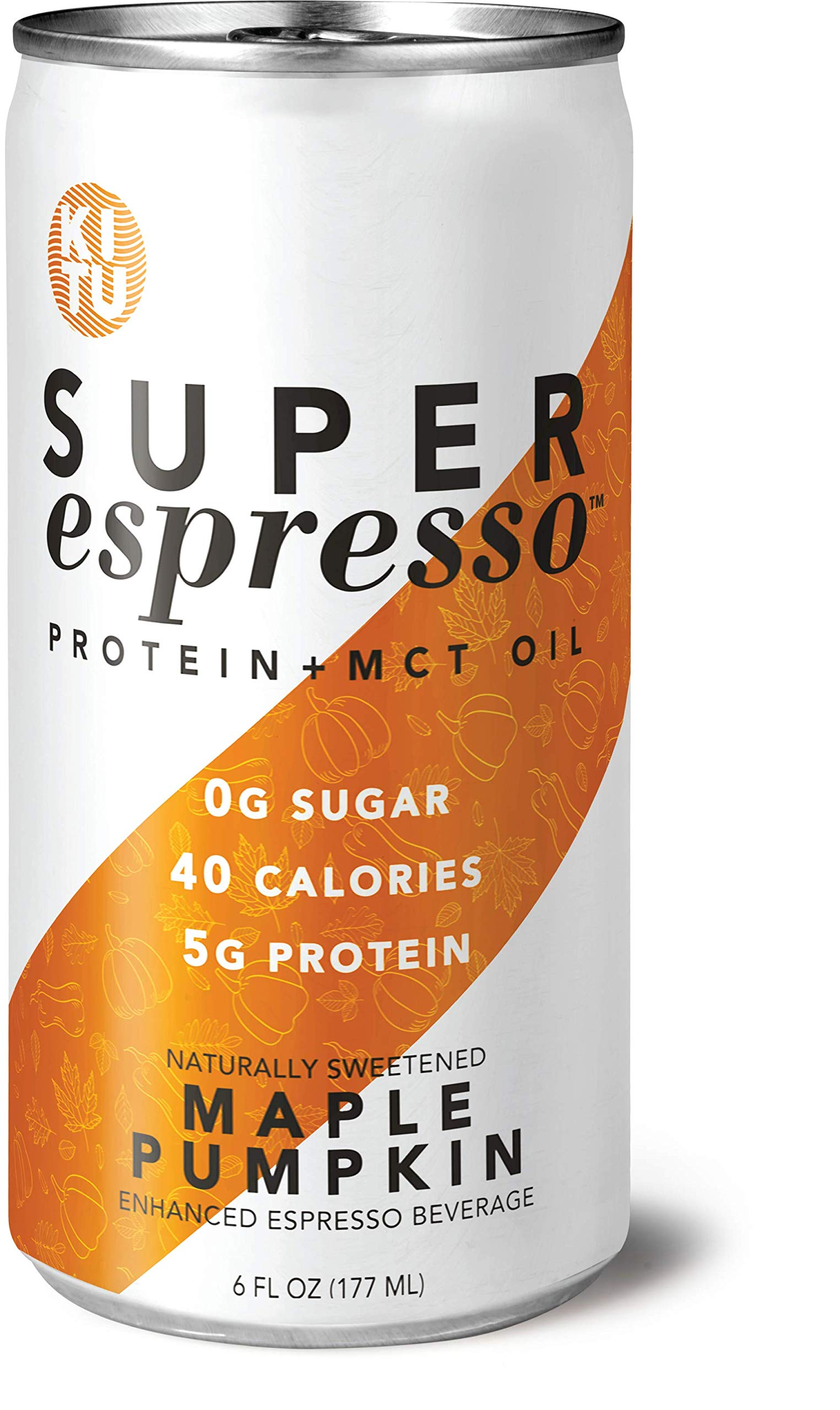 Kitu by SUNNIVA Maple Pumpkin Super Espresso with Protein and MCT Oil, Keto Approved, 0g Sugar, 5g Protein, 40 Calories, 6 fl. oz, Pack of 12 by KITU Super Coffee