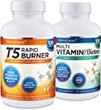 Slimzest - T5 Fat Burners & Multivitamins - 240 Capsules - UK Manufactured High Quality Supplements - Natural Safe & Legal Ingredients - Fat Burners Suitable For Men & Women - Vegetarian & Vegan Friendly - Order Today From A Well Known Trusted UK Brand (120x T5 Rapid Capsules - 120x MultiVitamins Capsules)