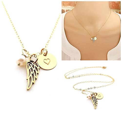 Amazon angel wing necklace 14k gold fill memorial jewelry angel wing necklace 14k gold fill memorial jewelry sympathy gift aloadofball Choice Image