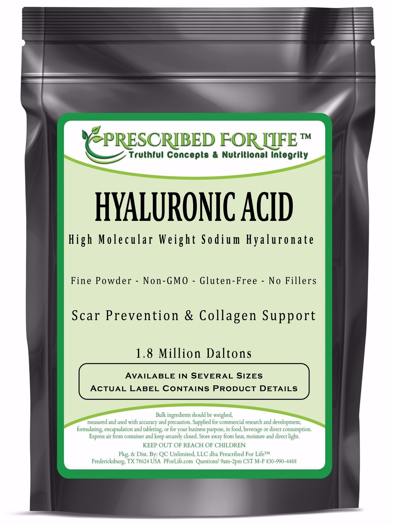 Hyaluronic Acid - Natural Food Grade Sodium Hyaluronate (HA) Powder - High Molecular Weight 1.8 mil Daltons, 12 oz