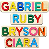 Wooden Personalized Name Puzzle Personalized Engraved Text Greetings on Back Gift for Baby Boy and Baby Girl Handmade…