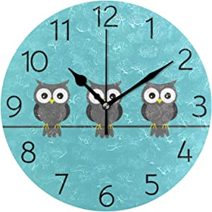 Blue Owl Round Wall Clock Silent Non Ticking Battery Operated Decorative Acrylic Wall Clock Humming Bird Creative Clock for Home School Office Kitchen