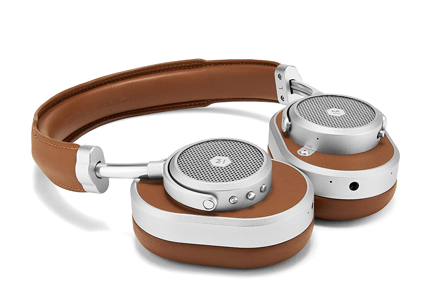 Master Dynamic MW65 Active Noise-Cancelling ANC Wireless Headphones Premium Bluetooth Over-Ear Headphones, Silver Metal Brown Leather