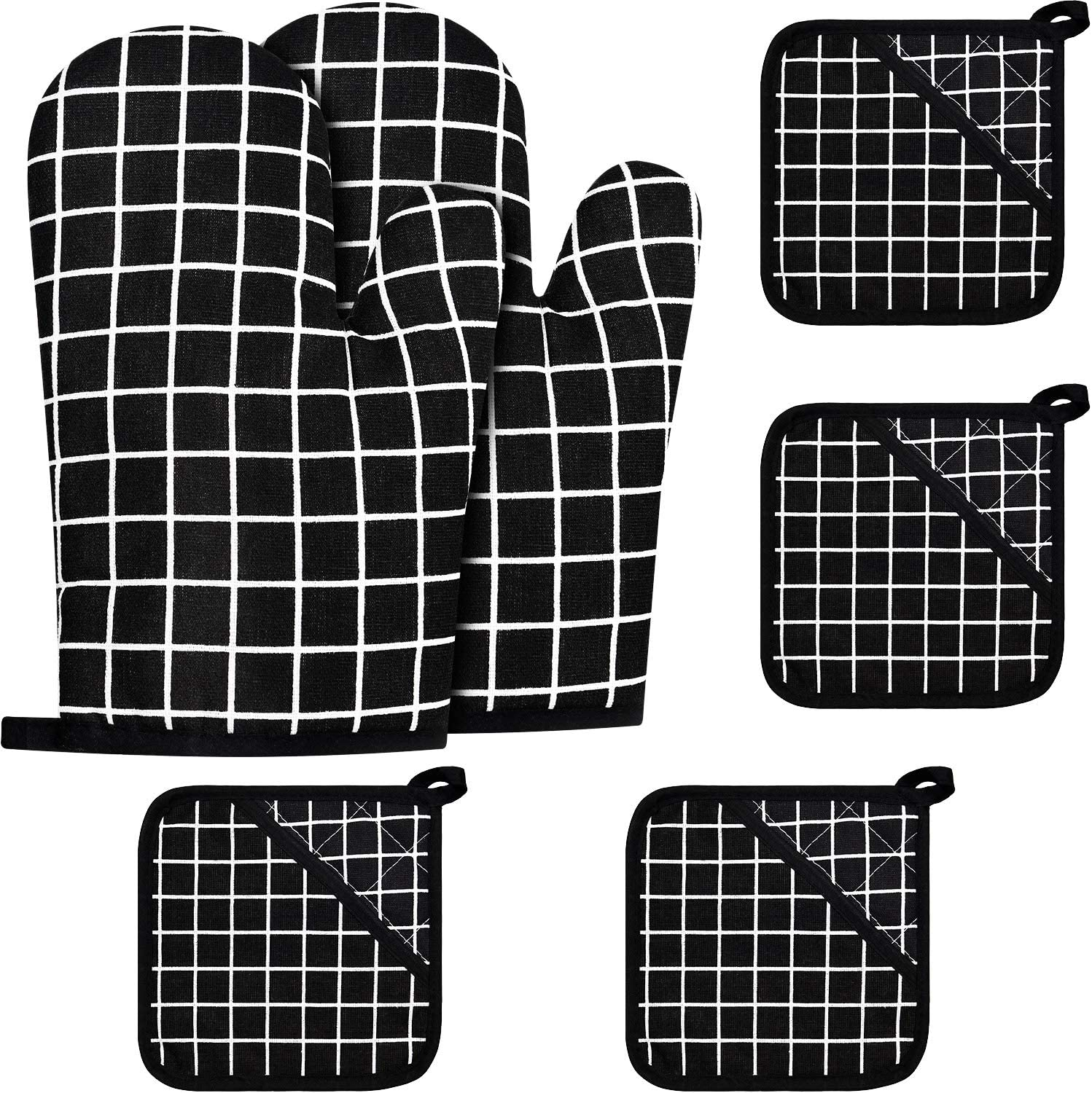 2 Pieces Oven Mitts and 4 Pieces Pot Holders Oven Kitchen Non-Slip Gloves and Hot Pads for Cooking Baking Heat Resistant Finger Hand Wrist Protection