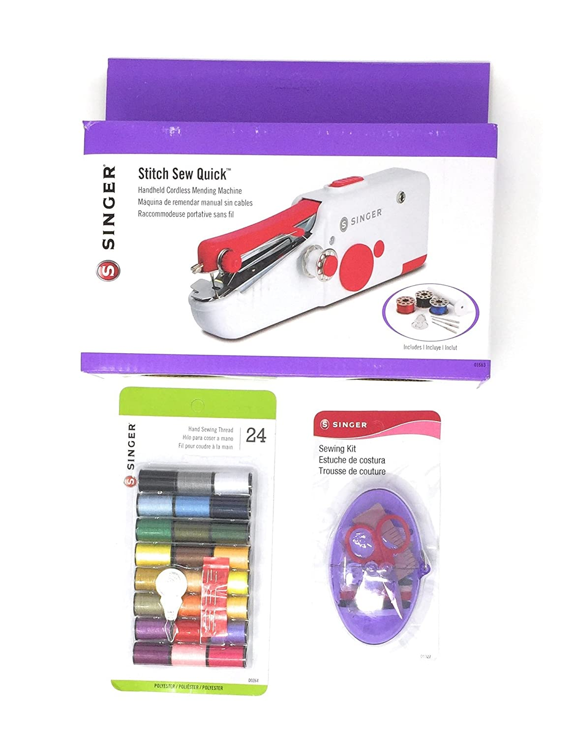 Amazon.com: Singer Hand Sewing Machine Bundle - 3 Items: Handy Stitch Sew Quick, Assorted Polyester Thread, Egg-Centric Sewing Kit