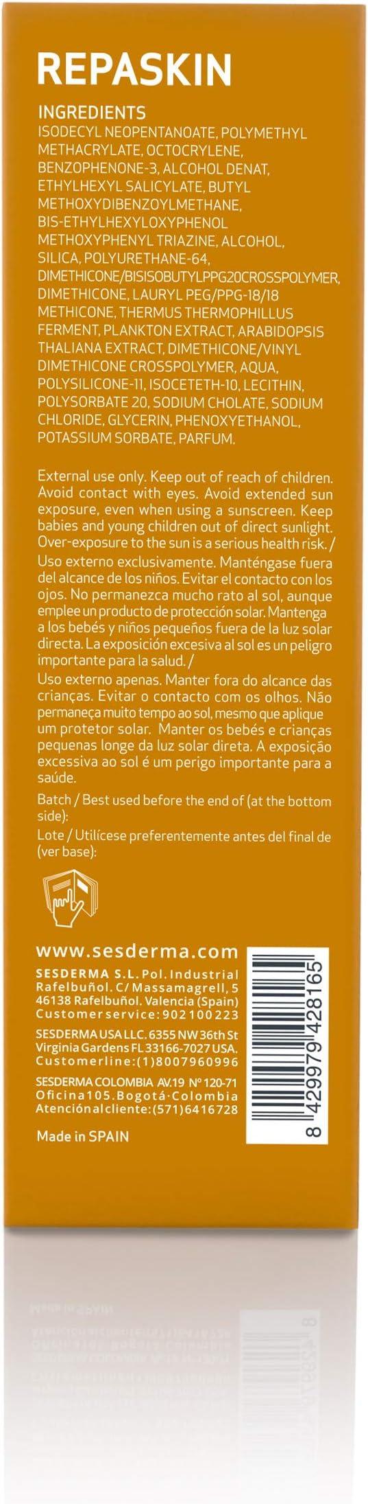 SESDERMA Repaskin Protector Solar Facial SPF 50 Tacto Seda - 50 gr