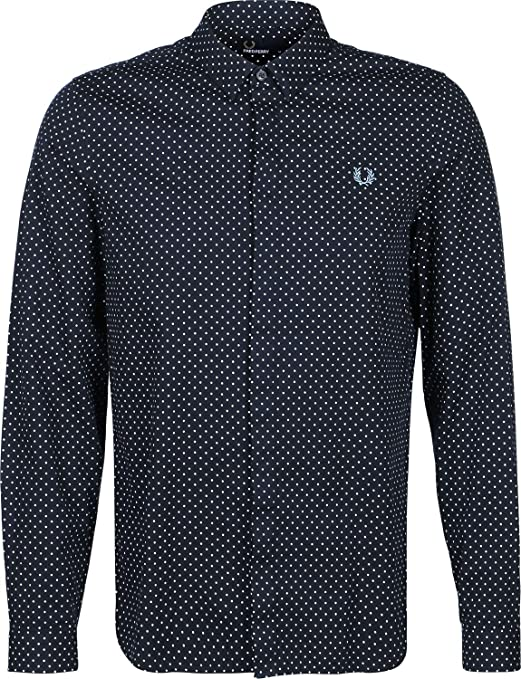 Fred Perry Polka Dot Camisa de Manga Larga Navy: Amazon.es: Ropa y ...