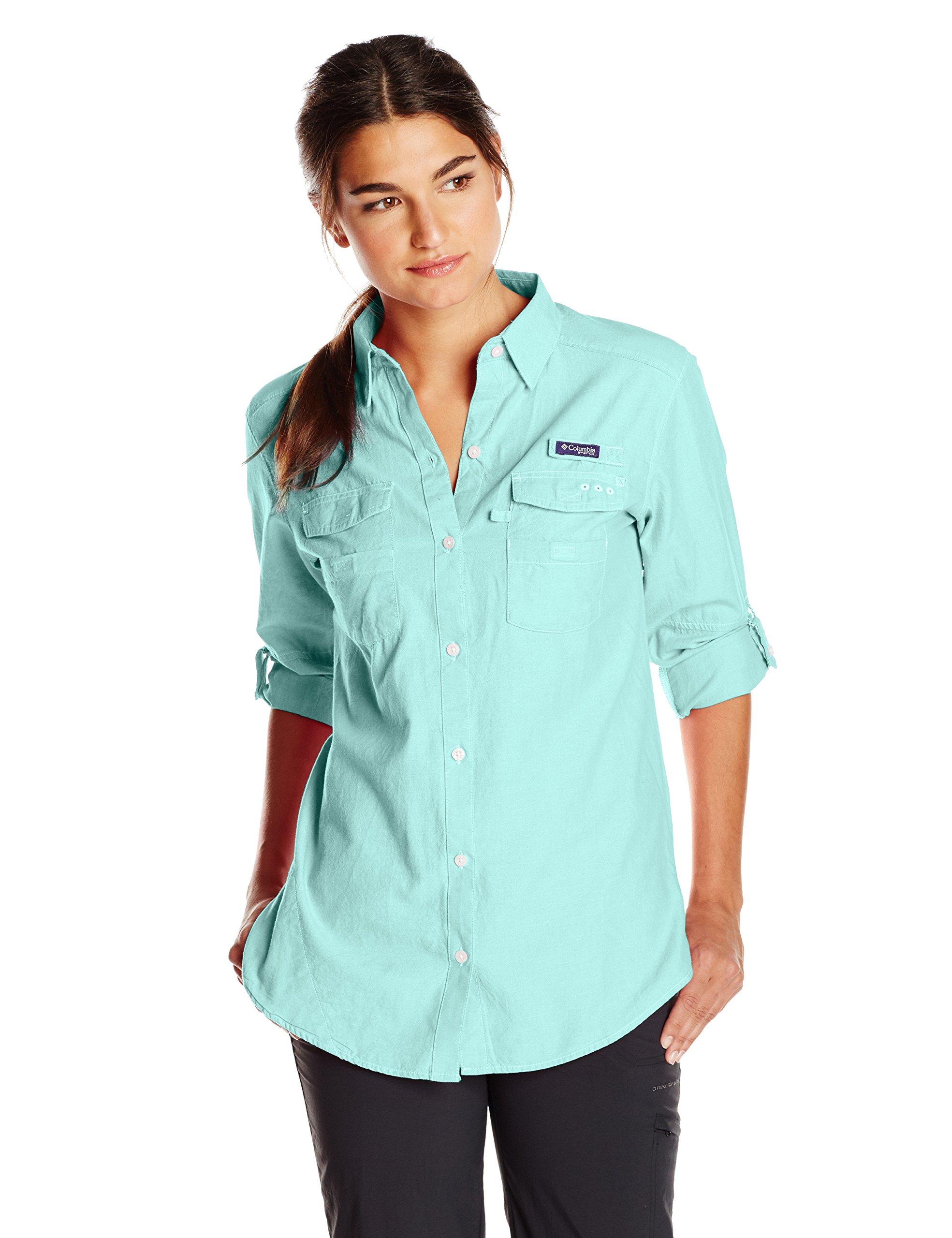 Columbia Women's Super Bonehead II Long Sleeve Shirt, Candy Mint Oxford, Medium