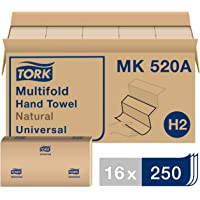 """Tork Universal MK520A Multifold Paper Hand Towel, 1-Ply , 9.5"""" Width x 9.13"""" Length, Natural, (Case of 16 Packs, 250 per…"""