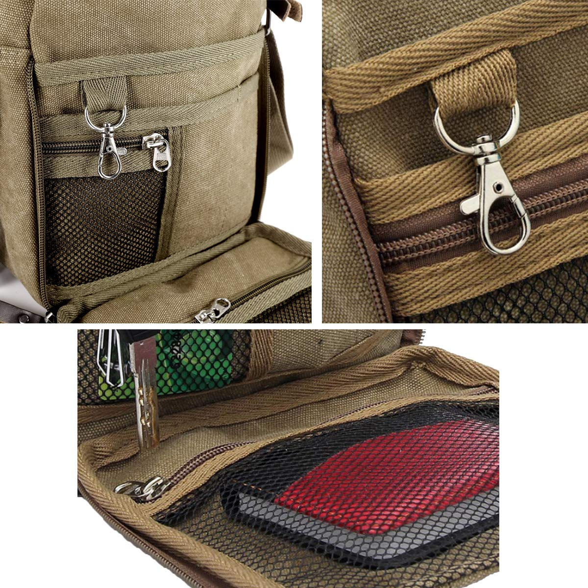 Aimer Unisex Multifunctional Vertical Small Canvas Bag Outdoor Travel Sports Coffee Crossbody Shoulder Bag