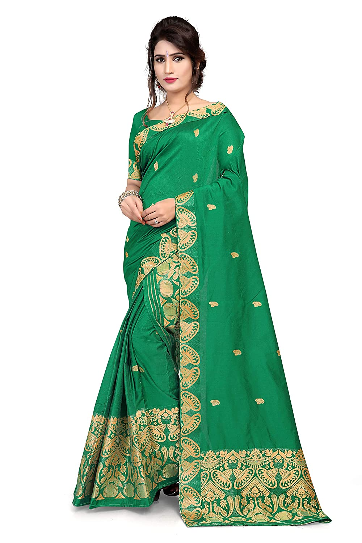 S Kiran's Women's Assamese Machine-Weaving Cotton-Chanderi Mekhela Chador Saree (Green,Free Size)