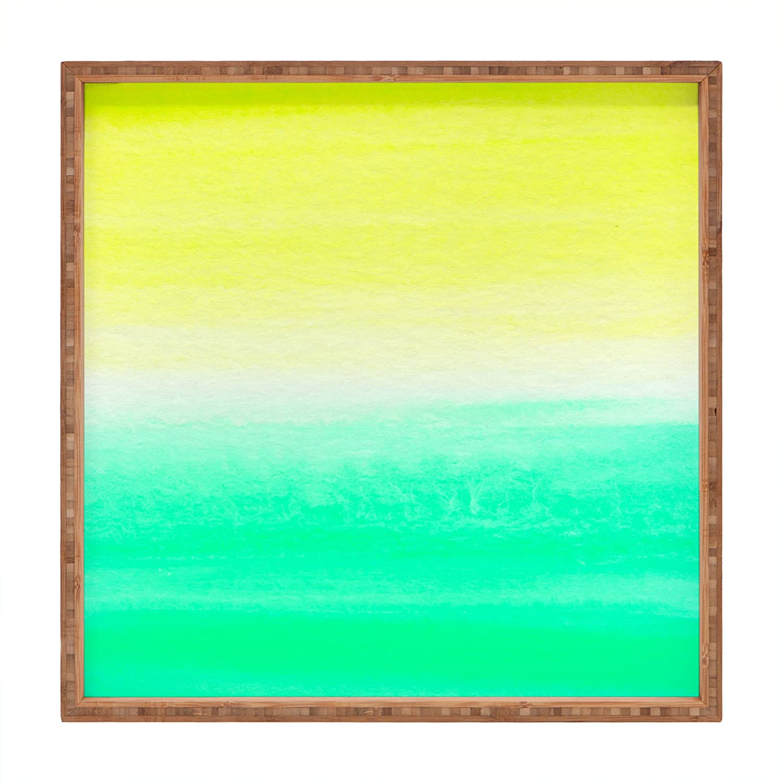 16 x 16 Deny Designs Rebecca Allen When Yellow Met Turquoise Indoor//Outdoor Square Tray