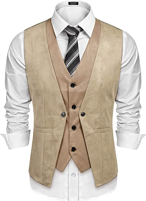 COOFANDY Mens Suede Leather Suit Vest Casual Western Vest Jacket Slim Fit Vest Waistcoat ZSJ007180