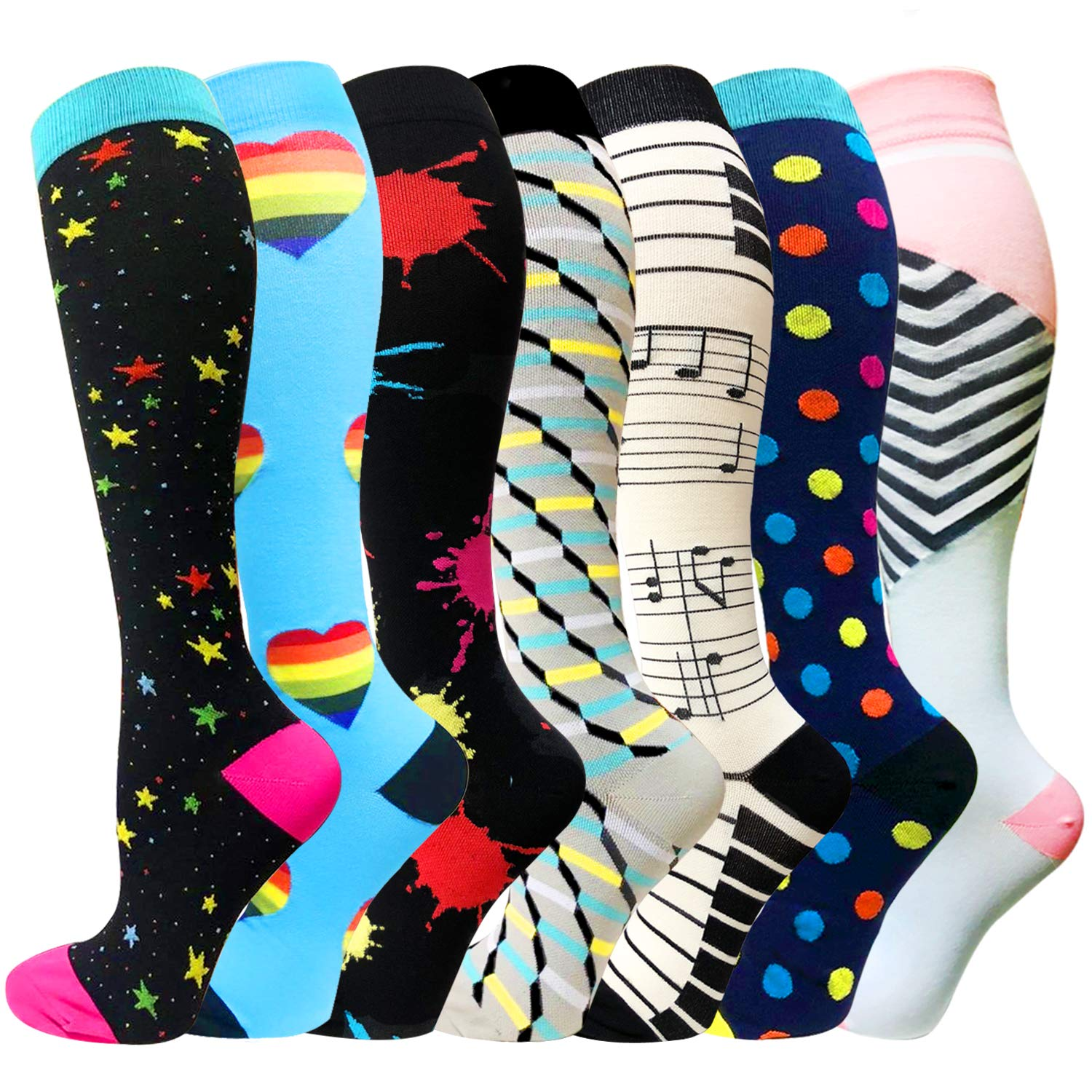 1/3/6 Pairs Compression Socks for Women&Men (20-30mmHg) -Best for Running, Travel,Cycling,Pregnant,Nurse, Edema (Large/X-Large, Multicoloured 28)