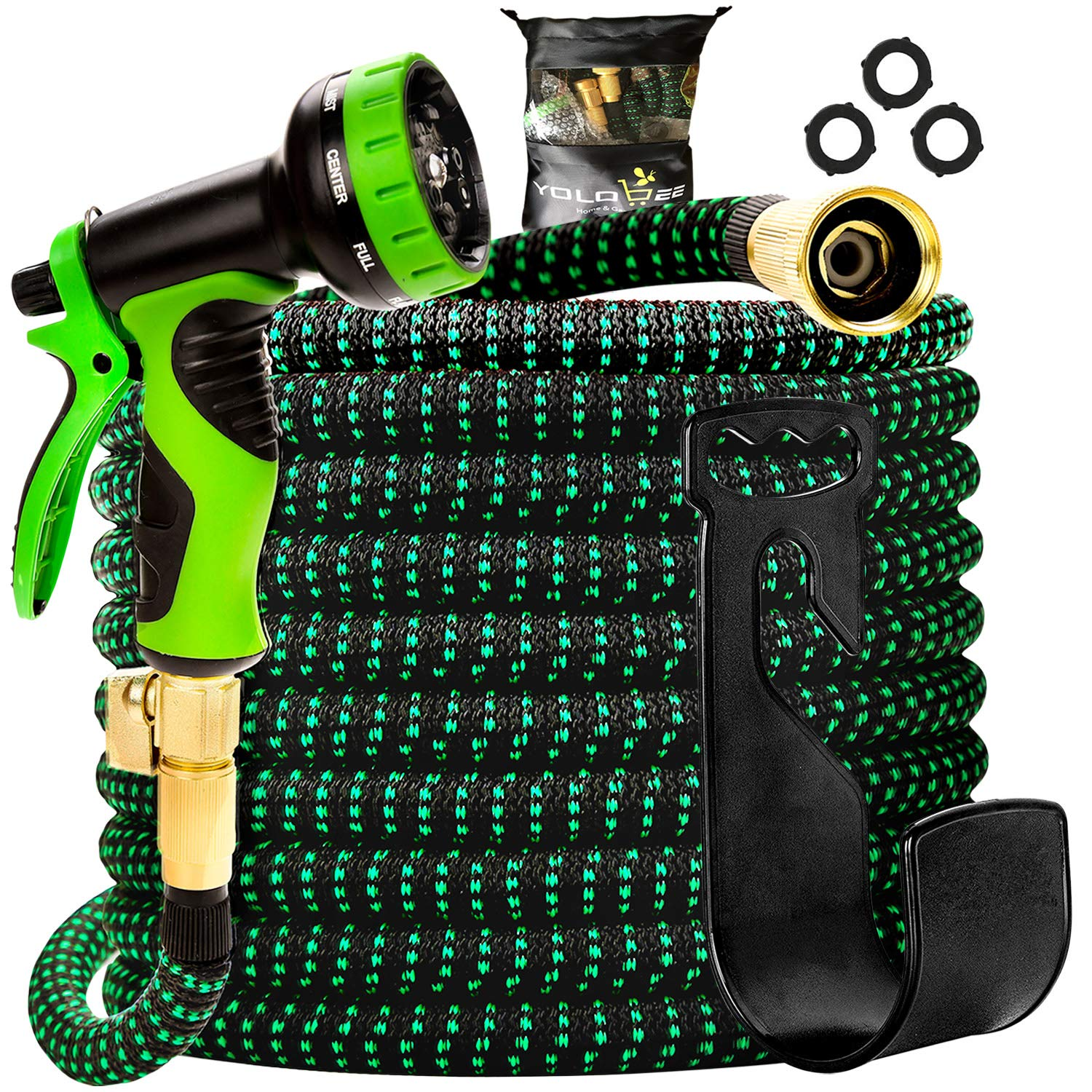 Yolobee Garden Hose 80 Feet, Expandable, Lightweight, High Density 3750D Outer Fabric, Durable Double Latex Core, Bundle with Spray Nozzle and Accessories (5 Items)