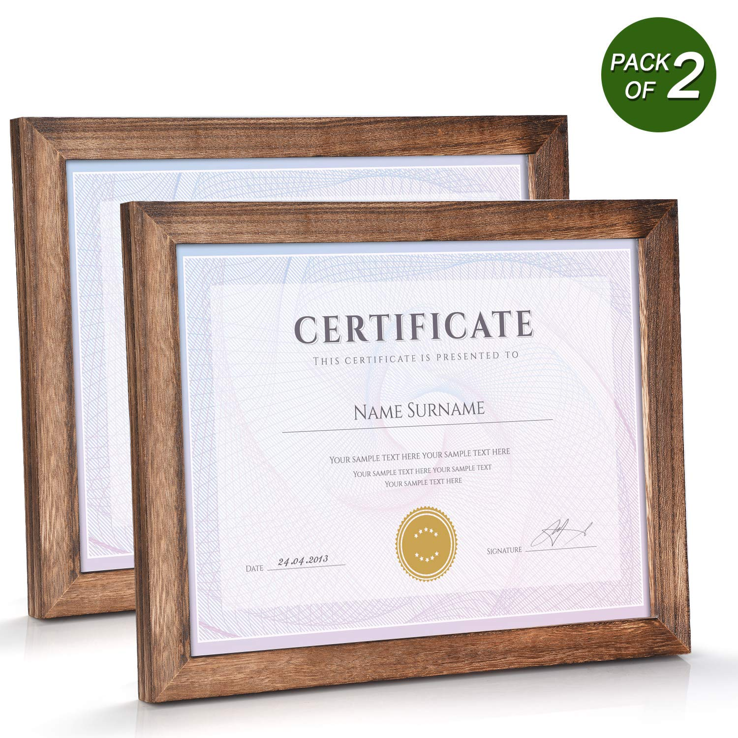 Emfogo 8.5x11 Certificate Frames with Stand Rustic Wood Document Frames with High Definition Glass for Wall or Tabletop Display Set of 2 Carbonized Black by Emfogo