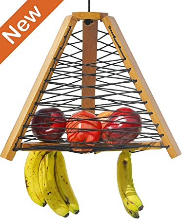 Superb Ujwal Wooden Hanging Fruit Basket With Banana Hanger, Natural, Load  Capacity   20lbs ,