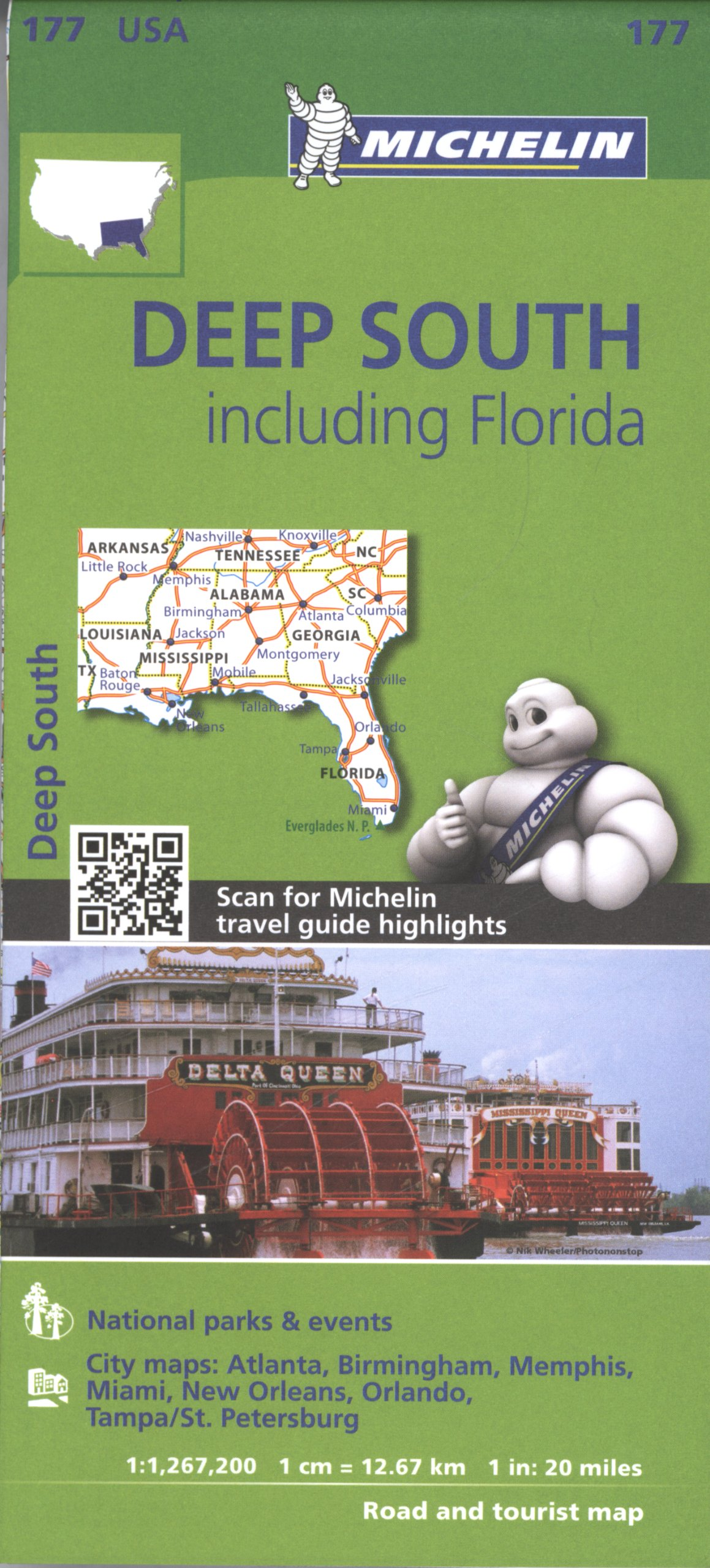 Florida Travel Guide Map.Michelin Usa Deep South Including Florida Map 177 Michelin Zoom Usa