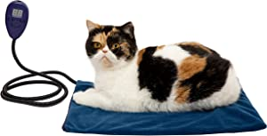 "Beslands Pet Heating Pad for Cat Dog Electric Waterproof Indoor Heated Blue Mat Auto Constant Temperature Chew Resistant Cord and Removable Cover (15.8""x11.8"")"