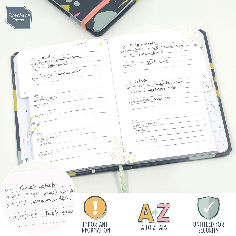 Nutzernamen Gebundene Ausgabe Unbetitelt f/ür extra Sicherheit Passw/örter Boxclever Press Password Journal Konten und Logins Passwort Buch Mini Notizbuch mit Register A-Z f/ür Websites