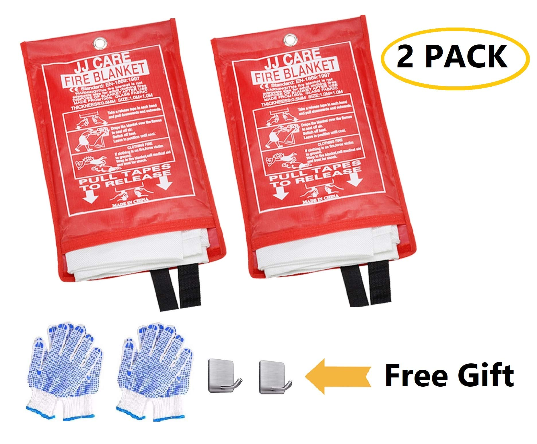 [Pack of 2] Fire Blanket/Fire Suppression Blanket with Fire Protective Gloves -Suitable for Camping, Grilling, Kitchen Safety, Car and Fireplace Retardant Blanket for Emergency (with Gloves + Hook) by JJ CARE