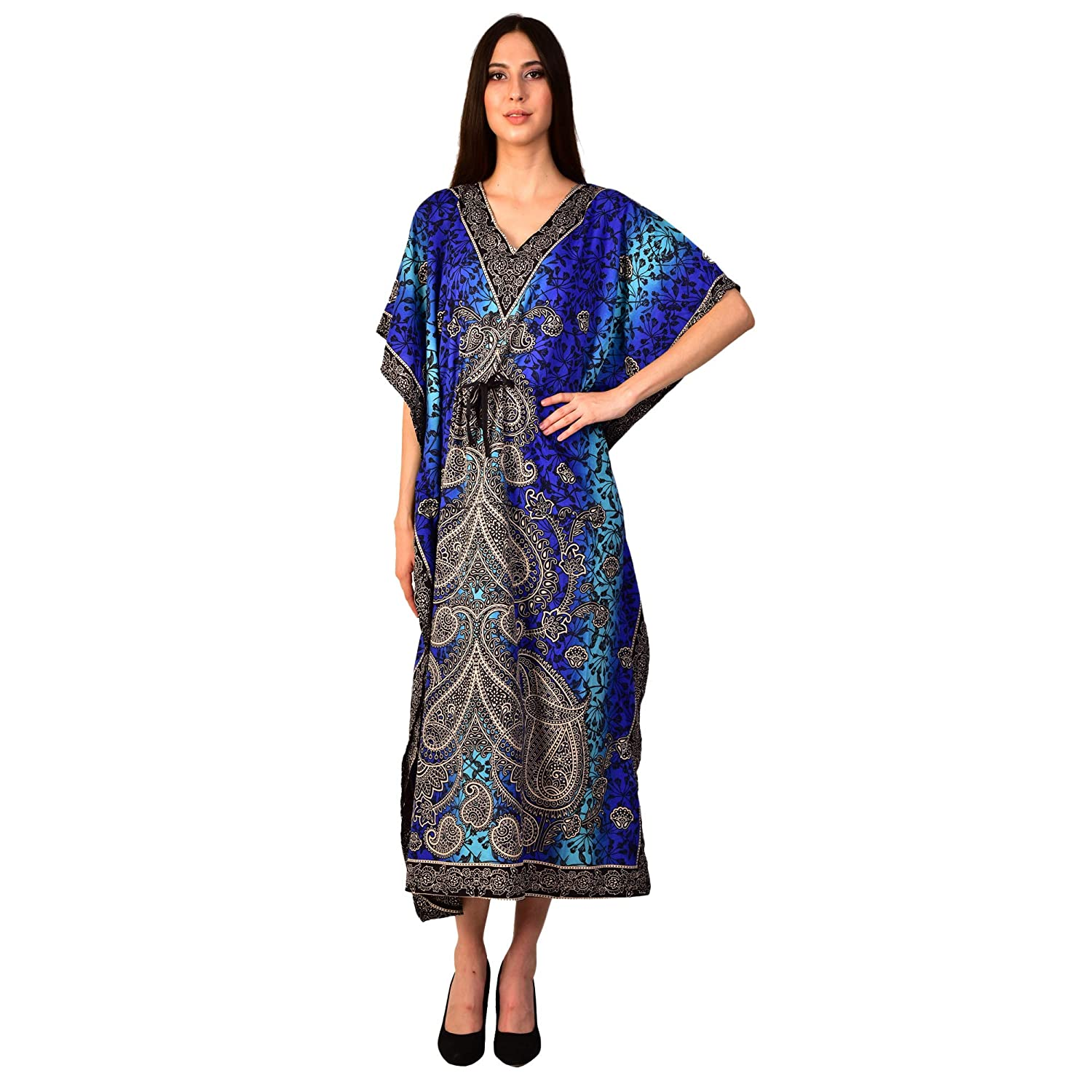 1920s Day Dresses, Tea Dresses, Mature Dresses with Sleeves eloria Womens Paisley Print Blue Kaftan Maxi Dress Summer Beach Dress Caftan $10.99 AT vintagedancer.com