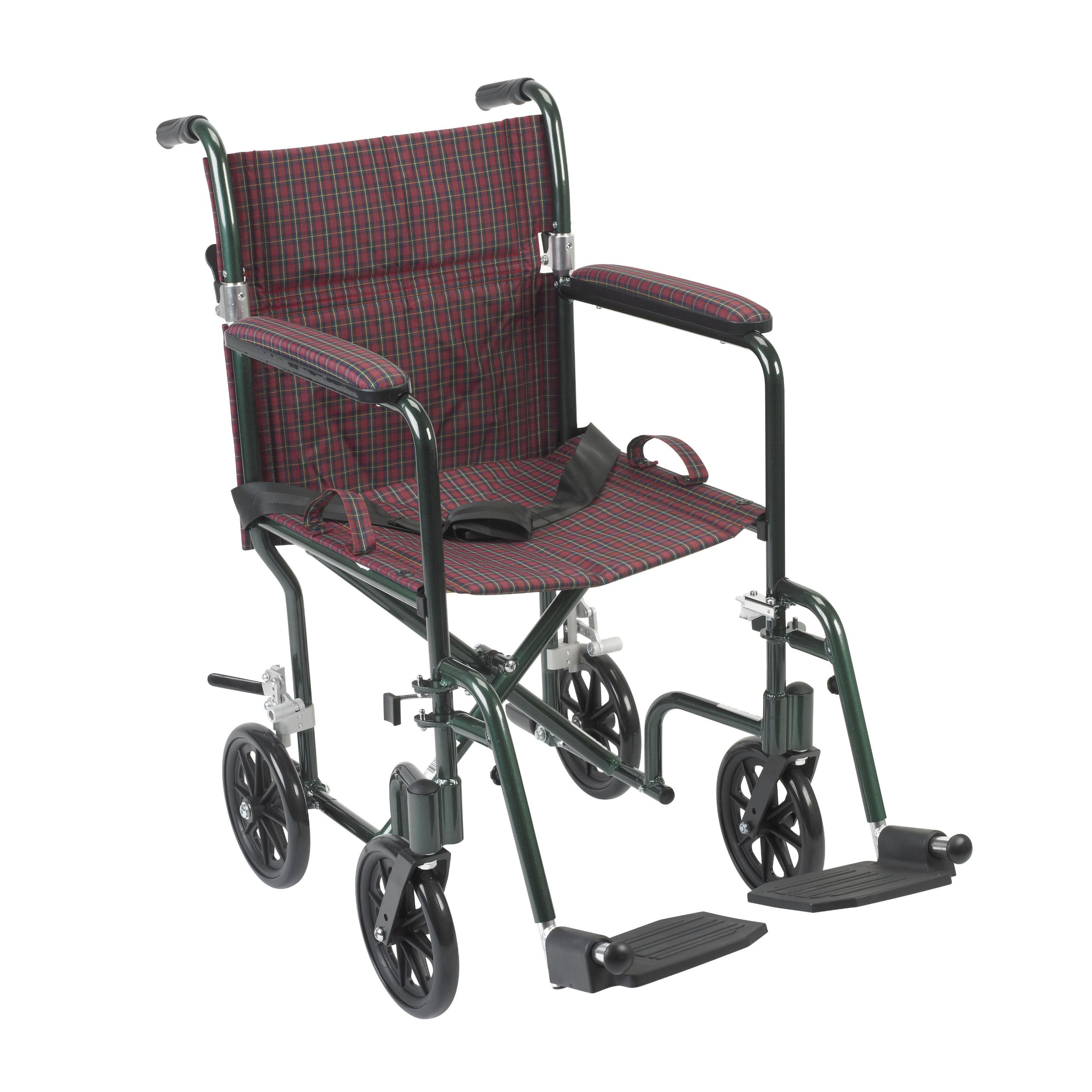 Drive Medical FW19BG Fly-Weight Transport Chair, 19 Inch, Burgundy Green
