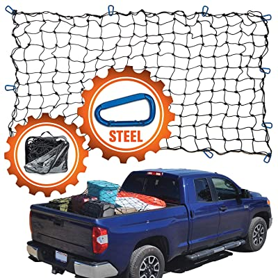 "4'x6' Super Duty Truck Cargo Net for Pickup Truck Bed Stretches to 8'x12' | 12 Tangle-free [STEEL] Carabiners | Small 4""x4"" [LATEX] Bungee Net Mesh Holds Small and Large Loads Tighter: Automotive"
