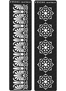 Reusable Painting Template for Journal DIY Albums Tile Decoration and Printing on Paper Fabric Home Decor CrafTreat Stencil Wood 3x12 inches Scrapbook Wall Floor Crafting Border7