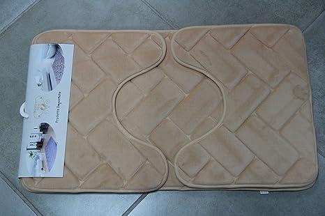 Tris tappetini tappeti bagno antiscivolo mastro oro mattonella d