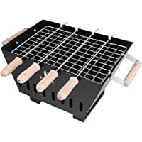 Hytec BBQ1 Portable & Picnic Metal Barbeque With 4 Skewers (Wooden Handle), 1 Iron Grill & 1 Packet Of Charcoal