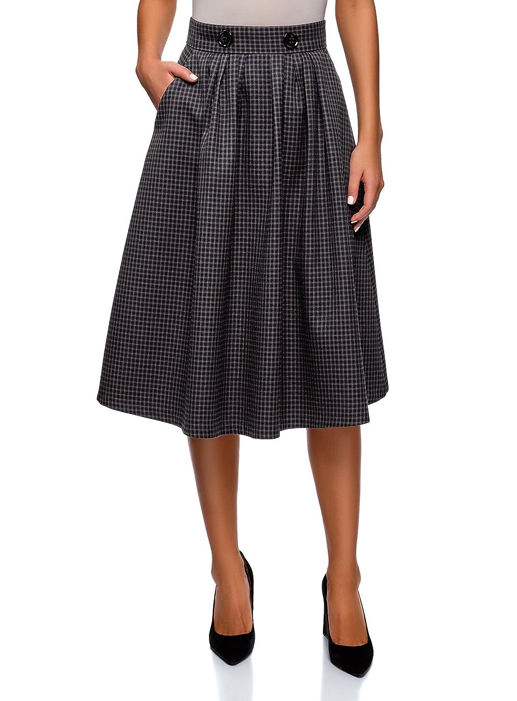 oodji Ultra Women's Checkered Midi Skirt RIFICZECH s.r.o. 11600433-2B