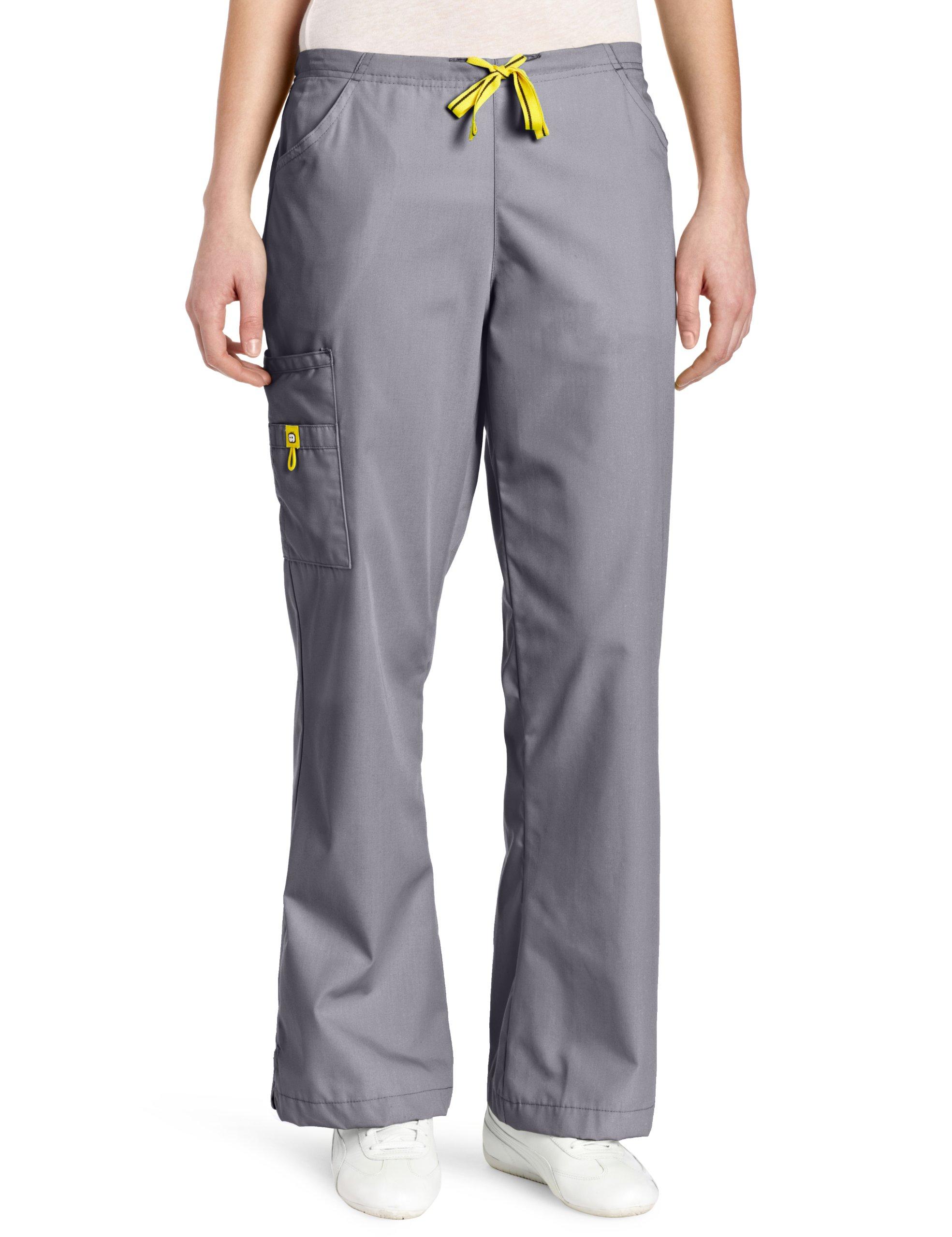WonderWink Women's Scrubs Romeo 6 Pocket Flare Leg Pant, Pewter, X-Large
