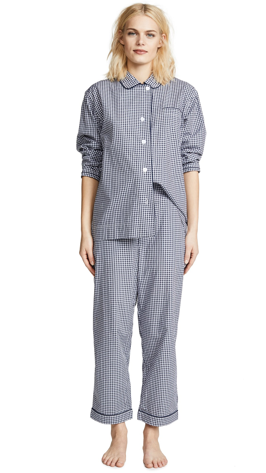 Sleepy Jones Women's Large Gingham Bishop Pajama Set, Navy, Medium