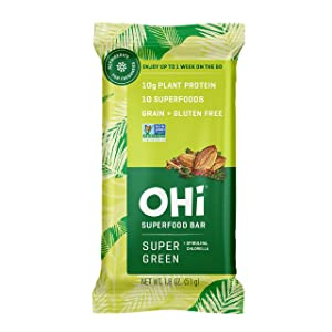 OHi Plant-Based Super Green Superfood Bars | 16 Refrigerated Whole Food Bars | Vegan, Non-GMO, Free from Grain, Gluten and Soy