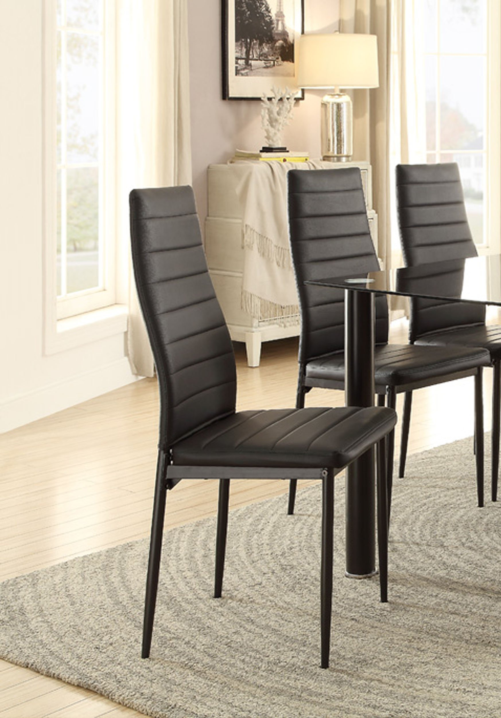 Homelegance Florian Metal Dining Chairs with Bi-Cast Vinyl Back and Seat Cover (Set of 2), Black by Homelegance (Image #2)