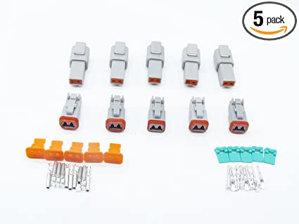 10sets 2 Pins Waterproof Electrical Wire Connector plug 22-16AWG DT06-2S DT04-2p