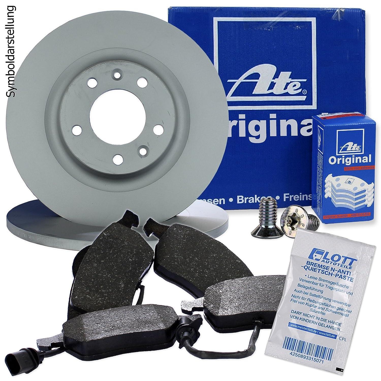 Original ATE Bremsscheiben hinten + ATE Bremsbelä ge Bremsklö tze Bremsenset Bremsenkit Komplettset Hinterachse