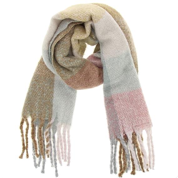 2319b48fca1 FASHIONGEN - Echarpe femme épais laine à frange