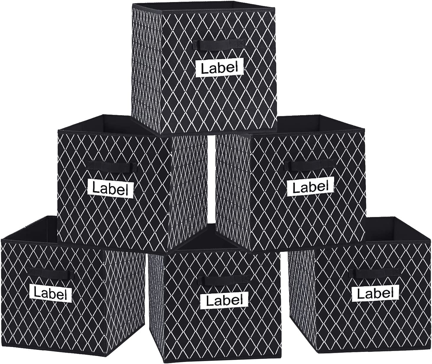VERONLY Cube Storage Bins 13x13 - Large Foldable Toy Boxes Baskets Container Organizer with Label Window and Durable Handles for Pantry,Shelf,Nursery,Playroom,Closet and Office,Set of 6 (Black)