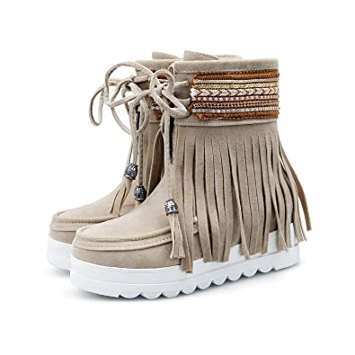 080fa40656a SNIDEL Women¡¯s Mid Calf Martin Boots Lace Up Flats Shoes Zipper Leather  Buckle